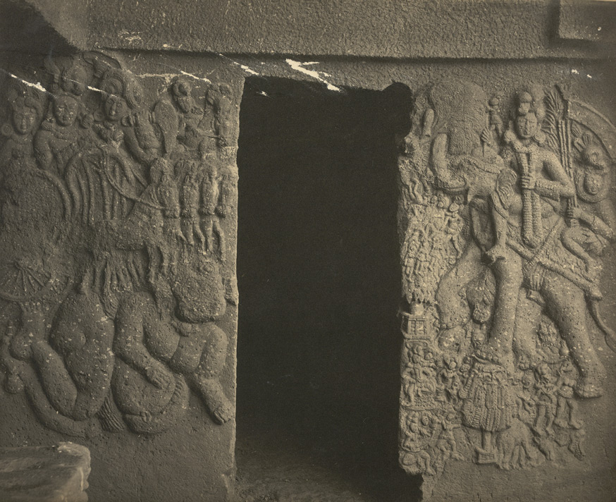 Close view of sculpture round doorway at right side of verandah of the small Buddhist Vihara, Bhaja Caves